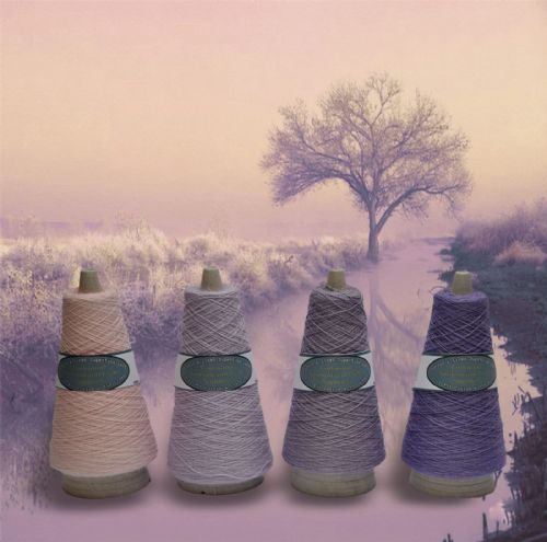 Superfine Lace weight cotton linen mix lilac dawn  colour collection 4 X 100g